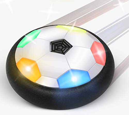 Hover Soccer Ball for Kids | with Flashing Colored LED Lights | for Smooth Surfaces | New Football Toy for Indoor - Battery Operated Air Floating Hovering Disc for Girls & Boys