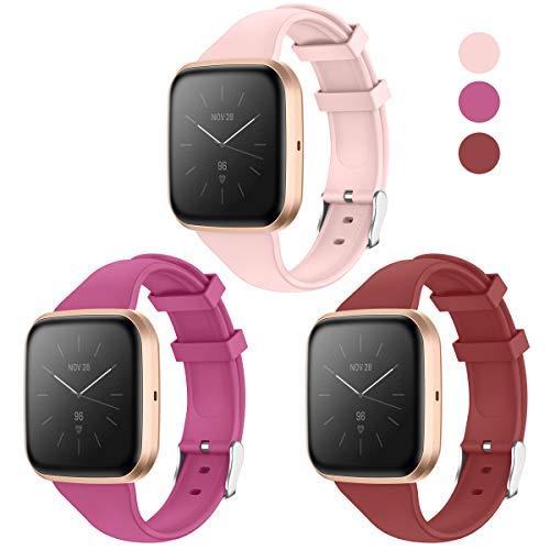 KIMILAR Correa Compatible con Fitbit Versa 2 /Versa/Versa Lite/SE Correa de Recambio Silicona, Delgado Reemplazo de Banda de la Muñeca Pulseras de Repuesto -Rosa Roja/Rojo Ladrillo/Rosa Bebé,S