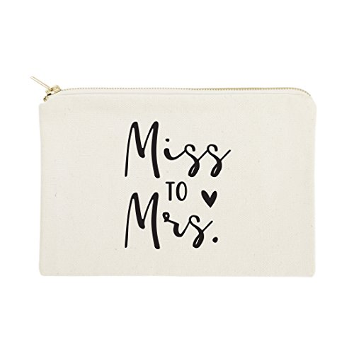 The Cotton & Canvas Co. Miss to Mrs. Wedding Cosmetic Bag, Bridal Party Gift and Travel Make Up Pouch