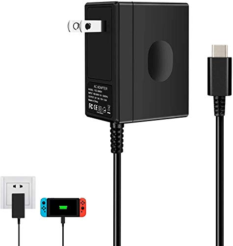 Charger for Nintendo Switch, AC Adapter for Nintendo Switch - Fast Travel Wall Charger with 5FT USB Type C Cable 15V/2.6A Power Supply for Nintendo Switch Supports TV Mode and Dock Station