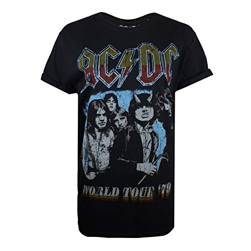 AC/DC World Tour 79 T-Shirt, Nero (Black Blk), 48 (Taglia Produttore: X-Large) Donna