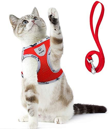 Supet Katzengeschirr Geschirr für Katzen Welpengeschirr Weich Kaninchengarnitur Katzen Weste mit Leine für Kitten Hunde Chihuahua (S für Normale Katzen(Brustumfang: 28-33 cm), Rot01)