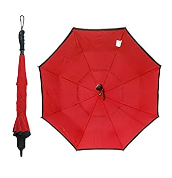 BetterBrella Golf Umbrella Deluxe 1-Click Automatic and Reversible Open Windproof Waterproof Double Canopy Vented Rain or Shine Umbrellas Extra Wide 41.5   Red