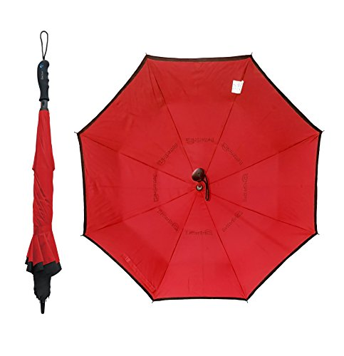 BETTERBRELLA Inverted Umbrella Windproof, Waterproof, Double Layer, Compact and Reverse Folding for Car, Travel and Outdoor Use, Red