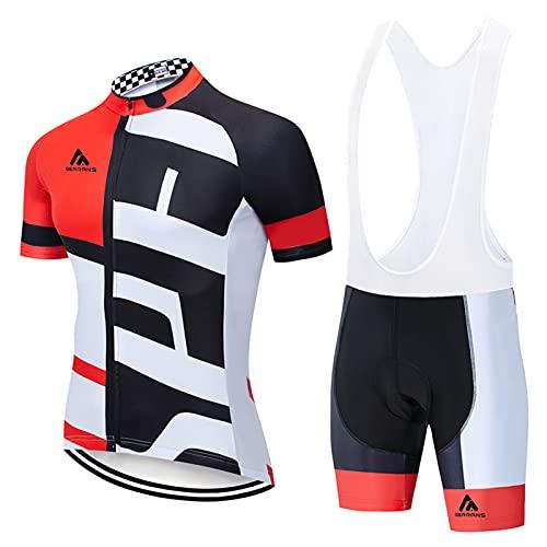 Completo Ciclismo Uomo Estivo Tuta Ciclismo Uomo Abbigliamento MTB Estivo Maniche Corte Completo Bici Da (Red-B,2XL)