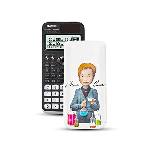 Casio FX-991SPXII Iberia - Calculadora científica con ilustración de Marie Curie en la tapa, (576 funciones, 12 dígitos, SOLAR), color negro y blanco