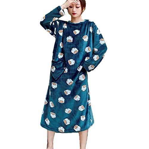 もこもこ フランネル ガウン 秋冬バスローブ 着る毛布 フリース レディース あったかい 部屋着 XL, グリーン YL02B0082-GN-4
