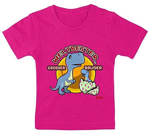 Hariz – Camiseta de bebé con el mejor hermano del mundo y el mejor regalo Unicornio fucsia. Talla:15-24 Monate / 80-92cm