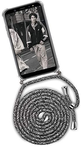 ONEFLOW Handykette kompatibel mit Samsung Galaxy A6 (2018) - Handyhülle mit Band zum Umhängen Hülle Abnehmbar Smartphone Necklace - Hülle mit Kette, Schwarz Grau Weiß
