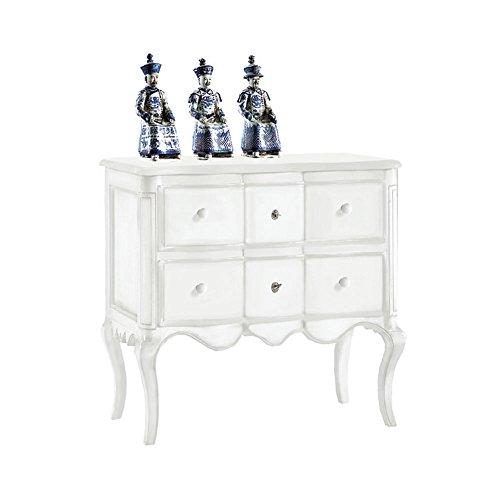 Table de Chevet avec 2 tiroirs, Style Classique, en Bois Massif et MDF avec Finition Blanc Mat - Dim. 83 x 46 x 80