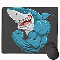 青い筋肉のサメ マウスパッド 25×30 大判 ノンスリップ 防水 ゲーミング おしゃれ マウスの精密度を上がる