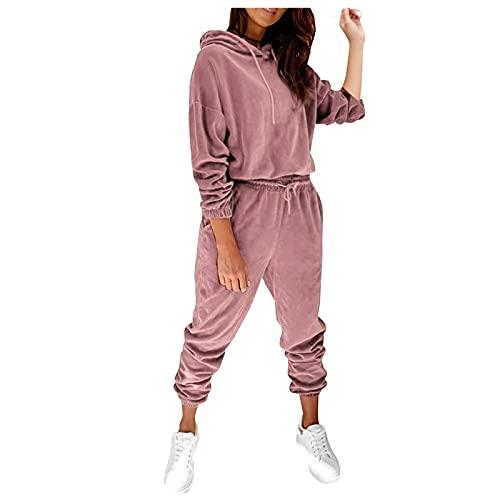 Dasongff Zweiteilige Freizeitanzug Loungewear Set Sportbekleidung Zweiteiler Sweatshirt und Jogginghose Loose Fit Zweiteiliger Anzug Elastischer Bund Fitnessanzug für Jogging Yoga Gym