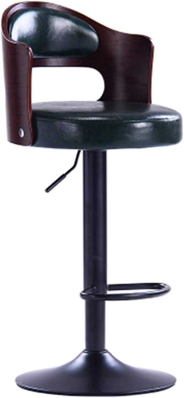 HIKTY Bar Stool Paint Adjustable Height Leather Barstool Dinning Kitchen Home Pub Bar Chair (Dark Green)