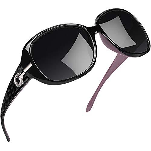 Joopin Sonnenbrille Damen Polarisiert UV400 Schutz Übergroß Klassisch Vintage Brille mit Großer Rahmen (Schwarz+Violett)