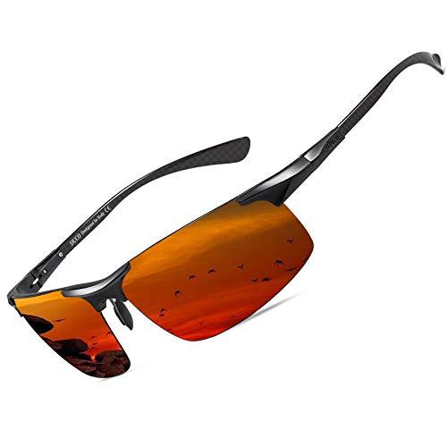 DUCO Gepolariseerde Zonnebril voor Heren met Metalen Frame en Tempels Van Koolstofvezel voor Golf Vissen Rijden UV400 8277 (zwart rood)