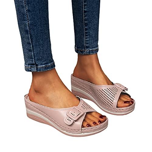 Meiyan Plantilla suave ortopédica arco apoyo-sandalias de plataforma de las mujeres zapatos de cuña respirables