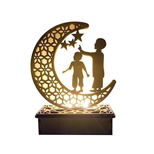 yahede Eid Mubarak Ramadan Light lámpara de Ramadán LED Blanco cálido 3D Media luna holográfica Estilo vintage Madera islámica Decoración interior para el hogar Fiesta Festival Luz para centro liberal