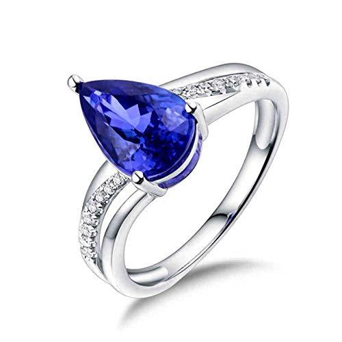AnazoZ Anillos Mujer Plata Tanzanita,Anillo Oro Blanco 18K Mujer Compromiso Plata Azul Gota de Agua Tanzanita Azul 2.25ct Diamante 0.08ct Talla 13,5