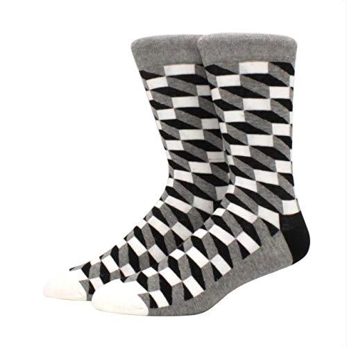2 Paar lustige fröhliche Socken für Herren Exquisite Diamantmuster Diamant dreidimensionale Rohr geometrische lustige große gekämmte Baumwolle-a27
