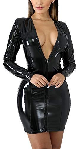 Rozegaga - Mini abito da donna sexy con scollo a V, a maniche lunghe, in lattice - nero - L