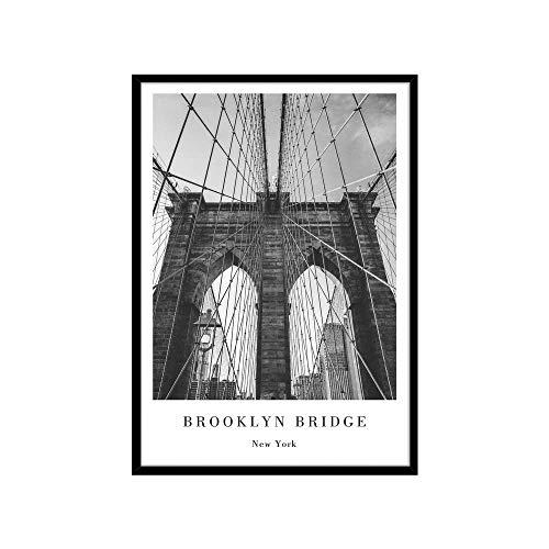 STYLER Gerahmtes Bild Brooklyn Bridge 50 x 70 cm I Rahmenbild New York Manhatten Brücke I Wandbilder Schlafzimmer I Wanddeko Home Kunstdruck I Bilder mit Rahmen I Verschiedene Poster & Größen