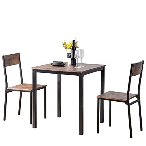 Juego de mesa de comedor y 2 sillas de madera con marco de acero industrial, estilo retro, color marrón