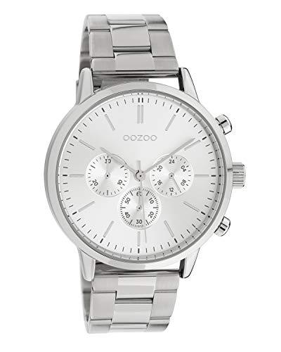 Oozoo Unisex Armbanduhr mit Edelstahl Gliederarmband 42 MM Silberfarben C10545