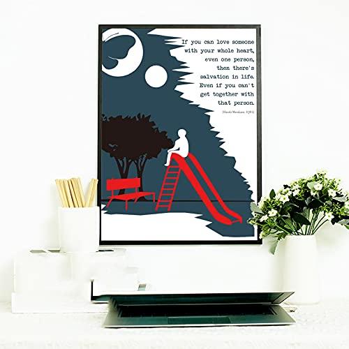 Haruki Murakami Amantes De Los Libros Fan PóSter Literario Arte De Pared Lienzo Pintura Libros Coleccionista Impresiones DecoracióN De La HabitacióN Del Hogar-50x70cm Sin Marco