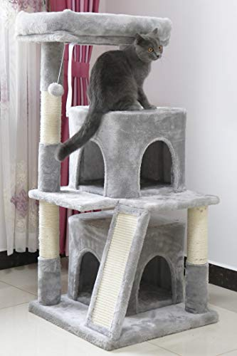 Toozey Cat Tree, 41.3 Inches Multi-Level Cat Tower with 2 Condos, Scratching Posts and Ramp, Soft Plush Cat Houses for Indoor Cats, Grey