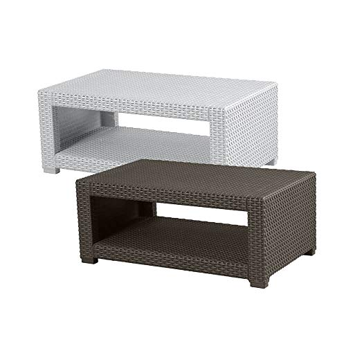 Trueshopping Rattan Effect Coffee Side Table - Weatherproof Outdoor Garden Furniture for Garden, Patio, Decking, Balcony or Conservatory - Fade Resistant, Easy Assembly & Wipe Clean