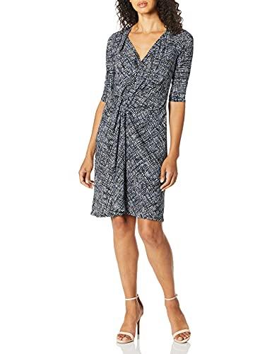 ELLEN TRACY Women's Twisted Front Dress, Crosshatch/Sky Blue, M