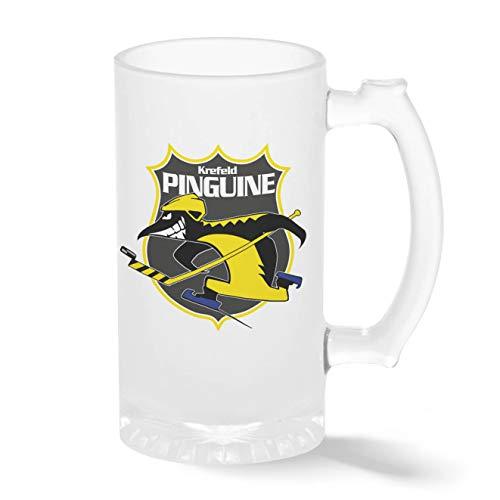 Krefeld Pinguine Eishockey Mannschaft Teamgeschenk Pint Glasbecher Gefrosteter Transparenter Stein Mug | Neuheit Krug für Bier Perfektes Geschenk 500ml