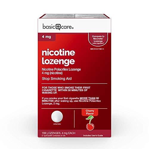 Basic Care Nicotine Polacrilex Lozenge 4 mg (nicotine), Cherry Flavor, Stop Smoking Aid, 168 Count
