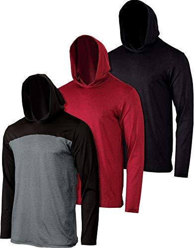 3 Pack: Boys Girls Youth Teen Dry Fit Long Sleeve Active Hoodie Sweatshirt-Set 2,L