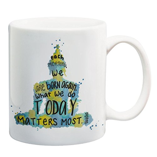 Buddha Quote Mug 11 oz Ceramic Mug with Saying Meditation Watercolor Word Art Yellow and Blue