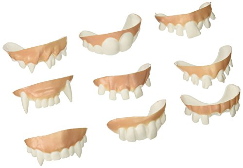 Accoutrements Gnarly Teeth (Set of 9), Medium, White