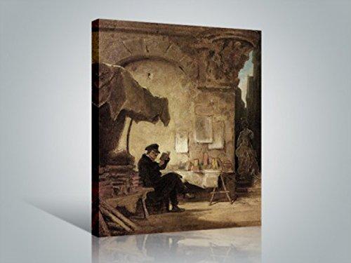 Preisvergleich Produktbild 1art1 Carl Spitzweg - Der Antiquar,  1847 Bilder Leinwand-Bild Auf Keilrahmen / XXL-Wandbild Poster Kunstdruck Als Leinwandbild 80 x 60 cm