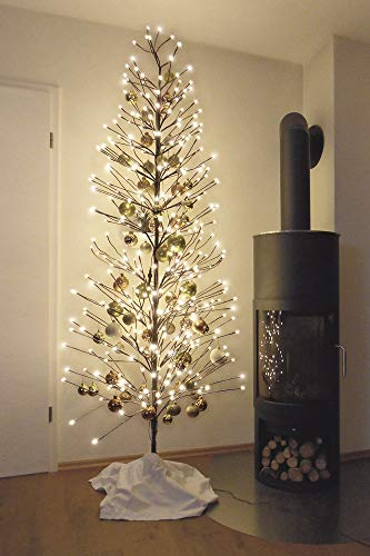 HILIGHT LED Weihnachtsbaum mit 392 warmweißen LEDs und Schneedeko 220 cm braun für Außenbereich geeignet Christbaum Tannenbaum Zweige und Äste Biegsam inkl. Metallständer