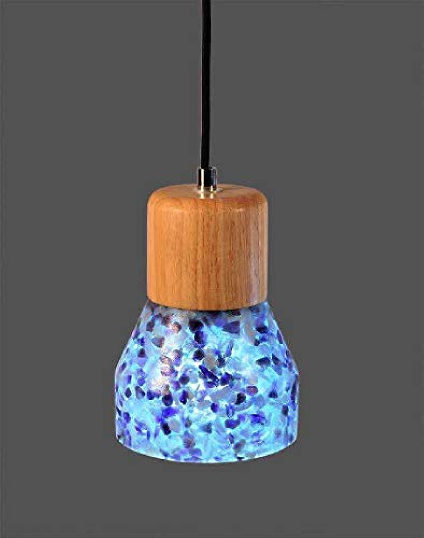 Beakjiful E27 suspension lustre Scrub Stone Shell Résine Lampe En Bois Lampe Restaurant Salon Café Petit lumière pendentife Bleu, 31W-40W