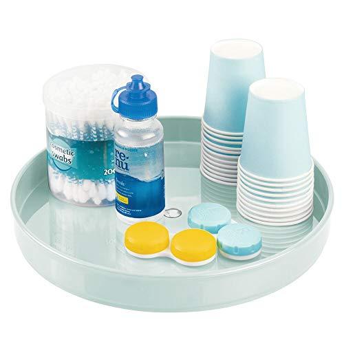 mDesign Plataforma giratoria para cosméticos – Organizador de maquillaje redondo para cremas y medicinas – Base giratoria para baño y cocina en plástico sin BPA y acero inoxidable – verde claro