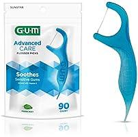 GUM Advanced Care Flossers, Fresh Mint Dental String Floss Picks, Vitamin E & Fluoride, 90 Count, packaging may vary