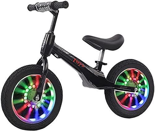 DRAGDS 14In / 12In Balance de Ruedas Bicicleta Bicicleta Negro, Niños Principiante Bicicleta de Entrenamiento con Manillar 360 ° Flexible - Easy Mesar, Diversión Deportiva Al Aire Libre,14 en