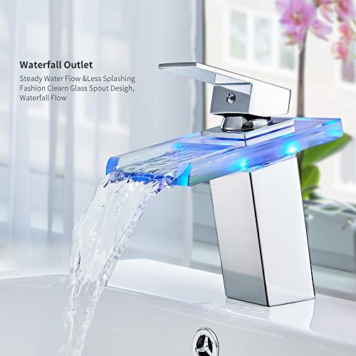 Auralum® Elegant LED RGB Glass Mischbatterie Armatur Wasserhahn Chrom Wasserfall Waschtisch Waschtischarmatur für Bad Badezimmer Küchen - 2