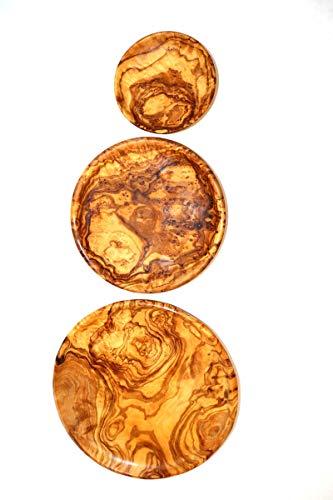 Teller set 3 Stücke aus Olivenholz, 20 + 15 + 10 cm, Serviceteller, Dekoteller, Olivenholz