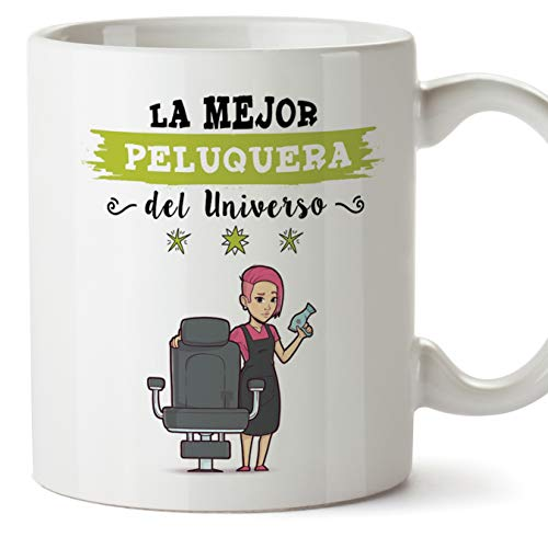MUGFFINS Peluquera Tazas Originales de café y Desayuno para Regalar a Trabajadores Profesionales - Esta Taza Pertenece a la Mejor Peluquera del Unive