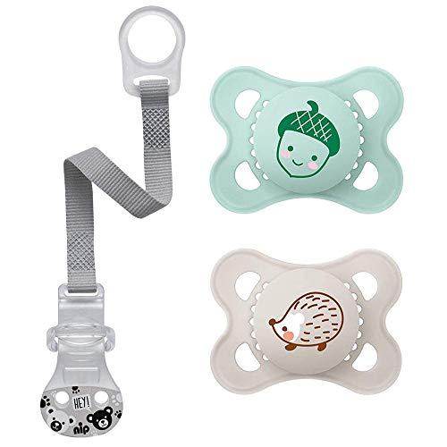 Tétine en silicone MAM « Skin Soft » - 0 à 6 mois Neutral - Lot de 2 - Avec boîte de transport stérilisateur et attache-tétine NIP