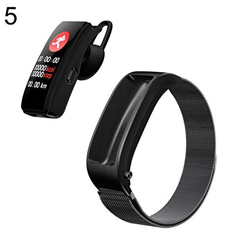 Yimosecoxiang - Pulsera inteligente Bluetooth para Huawei TalkBand B5 (silicona, impermeable), color marrón, Black Metal
