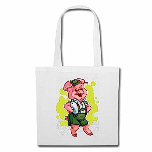 Tasche Umhängetasche Schwein MIT Lederhose Tanzt AUF DEM Oktoberfest Wildschwein MINISCHWEIN SCHWEINERASSE Ferkel SAU Einkaufstasche Schulbeutel Turnbeutel in Weiß