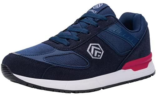 DURA-ANTISKID Zapatillas de Seguridad Hombre Zapatos de Seguridad Punta de Acero Calzado de Seguridad Antideslizante SRC(Azul,42.5EU)