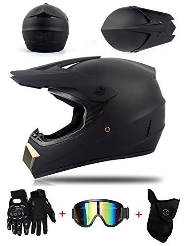 ZLCC Casco de Motocross Profesional, Cascos de Cross de Moto Set con Gafas/Máscara/Guantes, Niño Motos Deportivas Off-Road Enduro Casco ATV MTB BMX Quad Cascos de Motocicleta (C-08,M: 57-58 cm)
